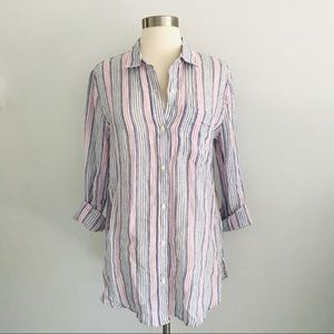 Gap 100% Linen Boyfriend Shirt Striped Oversized